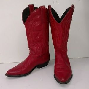 Red Leather Cowboy Boots Low Heel 6.5 Snip Toe Rnd